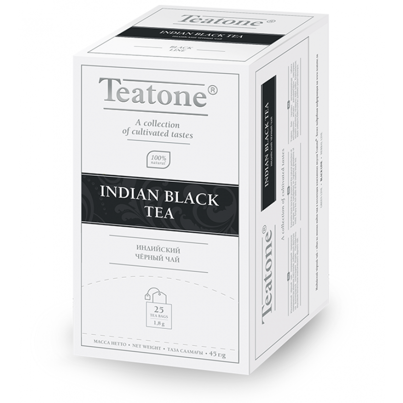 Чай Teatone. Черный индийский. Пакетики. 25 х 1,8 гр.
