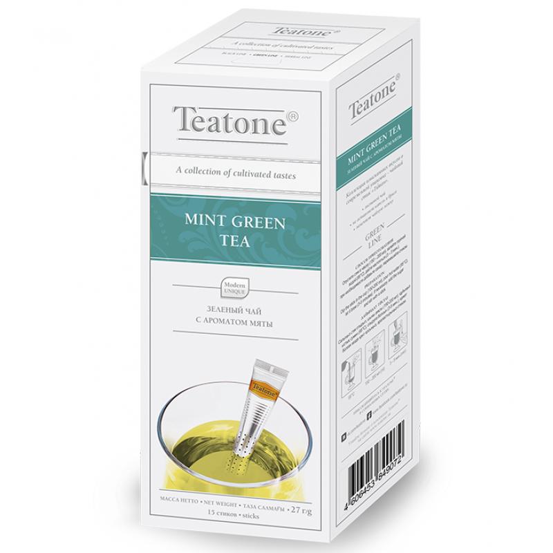 Чай Teatone. Зеленый с мятой. Стики. 15 х 1,8 гр.