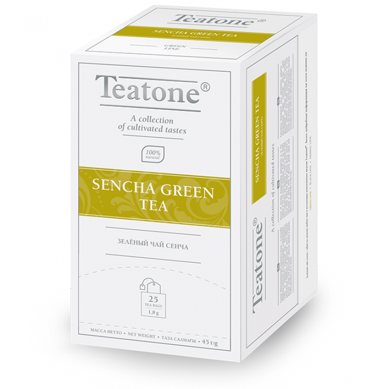 Чай Teatone. Зеленый Сенча. Пакетики. 25 х 1,8 гр.