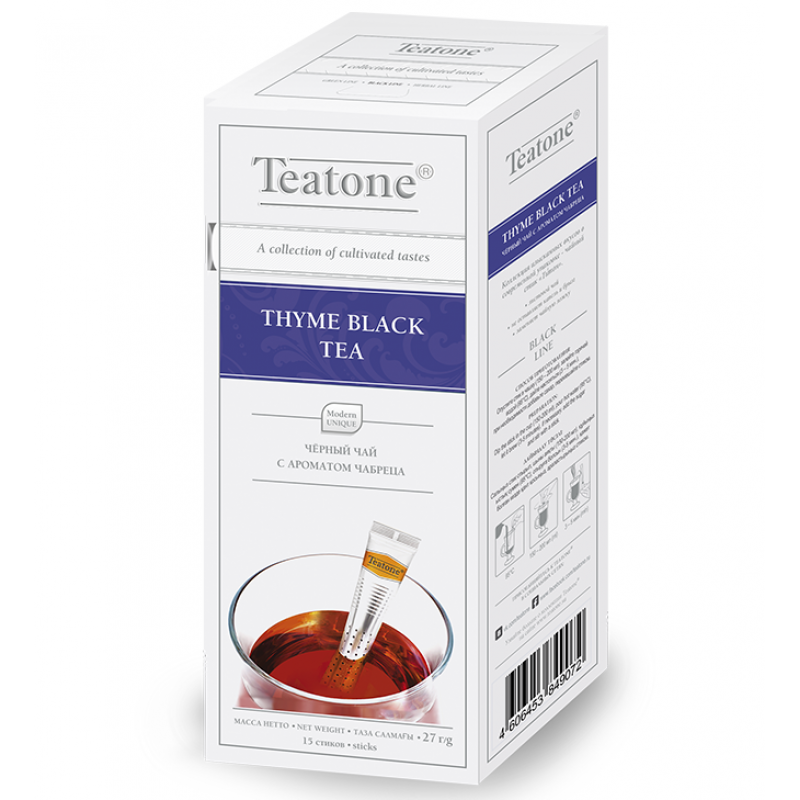Чай Teatone. Черный с чабрецом. Стики. 15 х 1,8 гр.